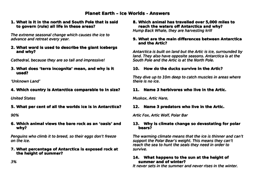 BBC Planet Earth Ice Worlds - Documentary Question & Answers Sheet
