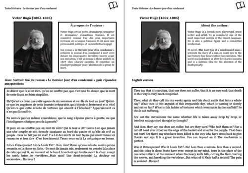Literary Text- A Level French- Victor Hugo- Worksheet