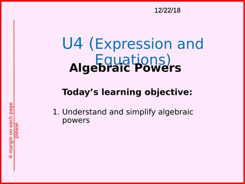 Algebra and Powers (Includes Rules of Algebra and Algebraic Powers)