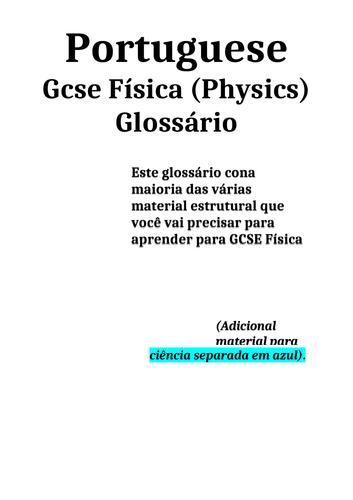 GCSE Physics glossary - Portuguese