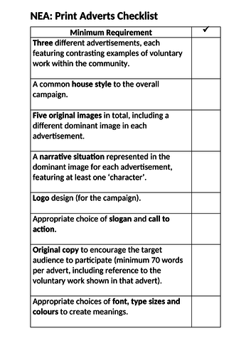 AQA GCSE Media NEA Brief 3 checklist