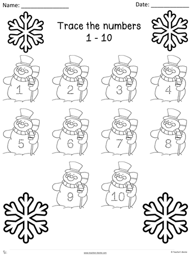 Winter theme - Trace numbers 1 - 20