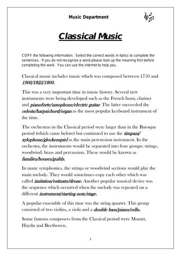 KS3 Music Cover Resource - Classical Music Worksheet