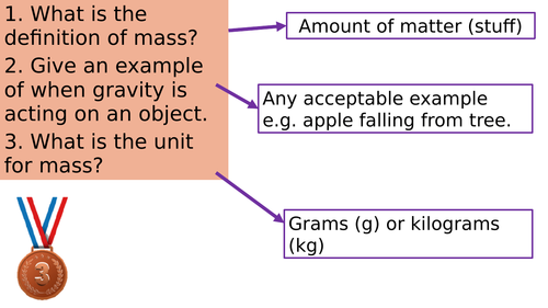 KS3 Gravity Structure Strip and Answers