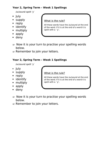 No Nonsense Spellings - Year 2 - Spring Term - Week 1 Lesson Resources