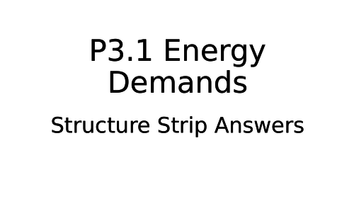 P3 Energy Resources Topic Structure Strips and Answers