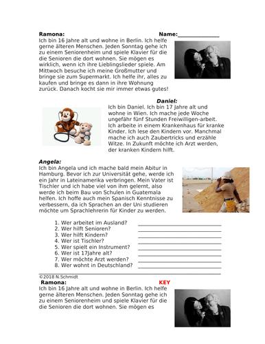 German Reading on Volunteer Work: Freiwillig Arbeiten Lesung