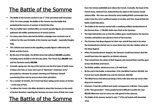 Battle of the Somme: Necessity or Slaughter?