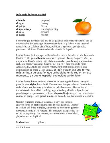 Arabic Influence on Spanish Reading + Worksheet: Influencia árabe en ...
