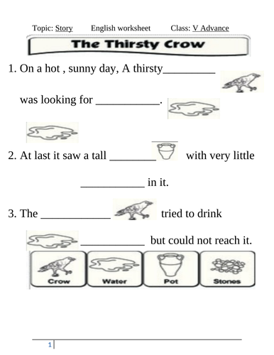 Necessity Is Mother Nature Story Thirsty Crow By