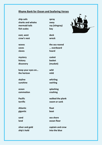 Rhyme Bank + Examples for Seafaring Verses