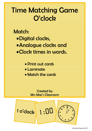 Time Matching Game - o'clock