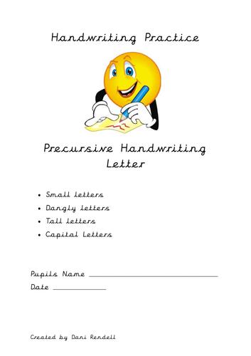 Handwriting Practice Booklet Precursive Letters