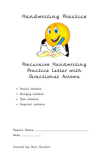 Precursive Letter Practice with Directional Arrows - Small