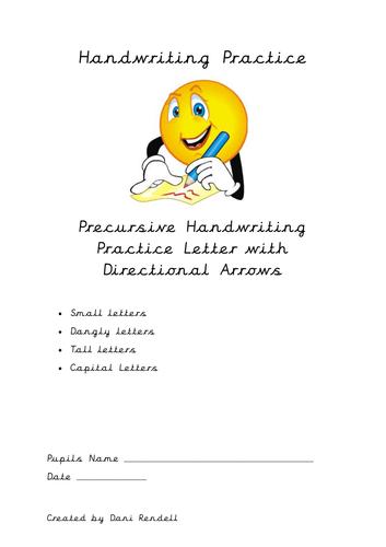 Precursive Letter Practice with Directional Arrows - Large