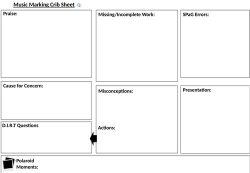 Essay Marking Crib Sheet