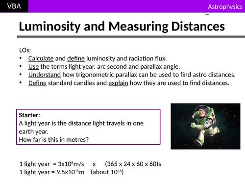 A2 Physics - Star Luminosity & Astronomical Distances