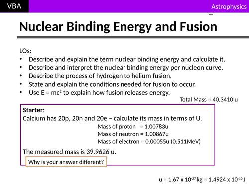 A2 Physics - Nuclear Binding Energy & Fusion