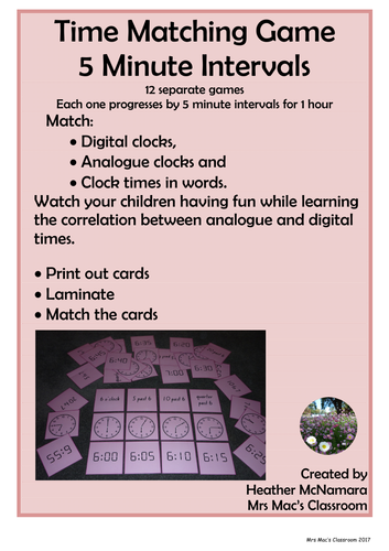 Time Matching Game _ 5 Minute Intervals