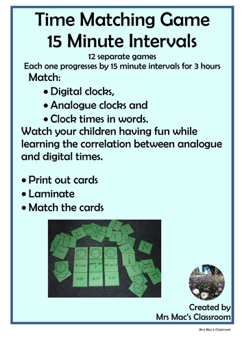 Time Matching Game - quarter past & to
