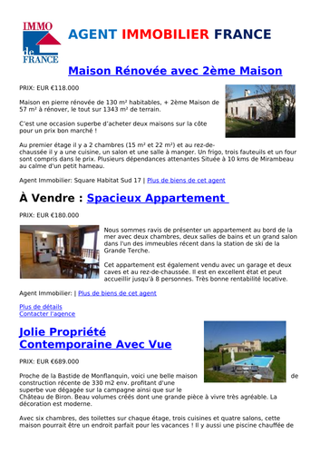 Houses for Sale: French Estate Agent Reading Comp