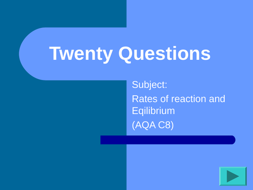 New GCSE Chemistry Revision  Rates and Equilibrium  C8-AQA