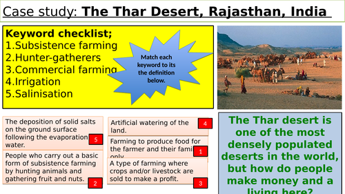 Opportunities and challenges of a hot desert environment GCSE 9 point question revision lesson.