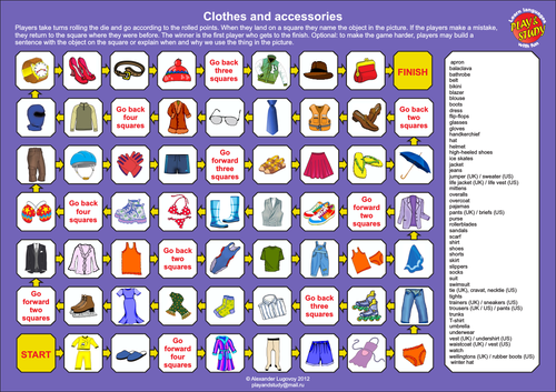 Clothes and Accessories Board Game
