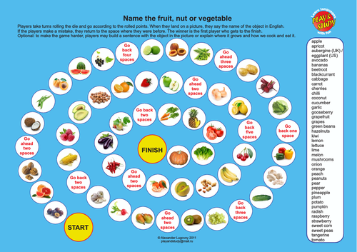 Fruit, Nuts and Vegetables Board Game