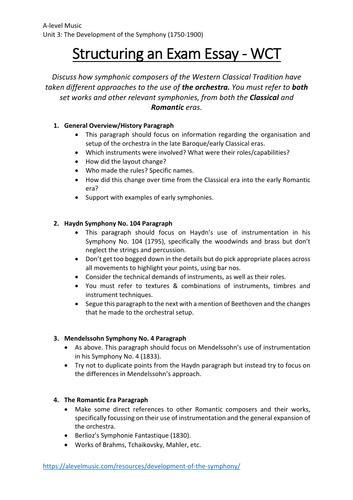 Structuring a WCT Music Exam Essay - Eduqas