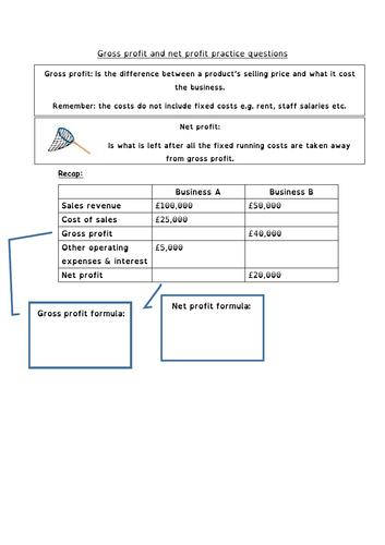Edexcel GCSE Business  2.4.1. Gross and net profit calculation practice questions - 3 worksheets