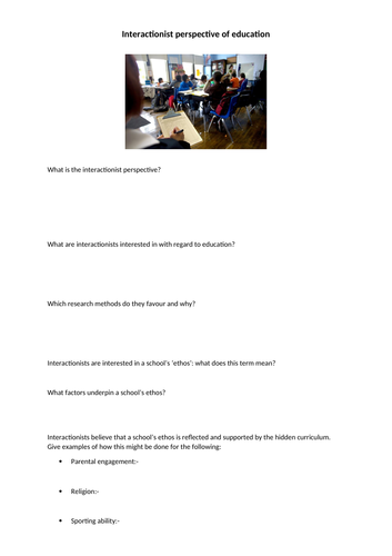 AQA Sociology Interactionist perspectives of education