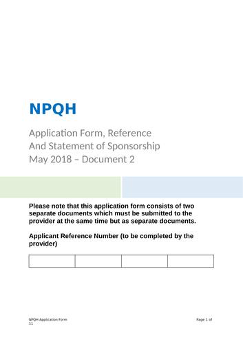 NPQH Application 2019-20