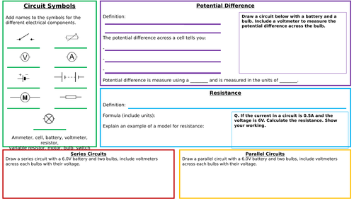 KS3 Potential Difference and Resistance Summary Sheet and Answers