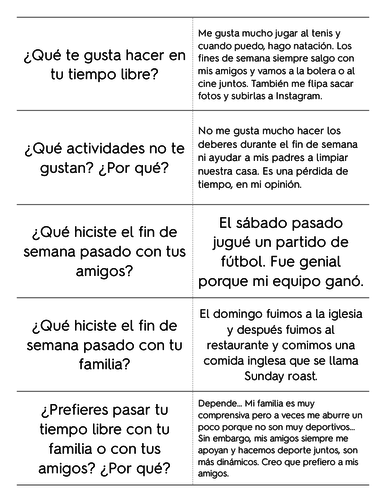 AQA GCSE Spanish 9-1 Speaking lessons on Theme 1 Identity and Culture - Topic: Leisure  and Free tim