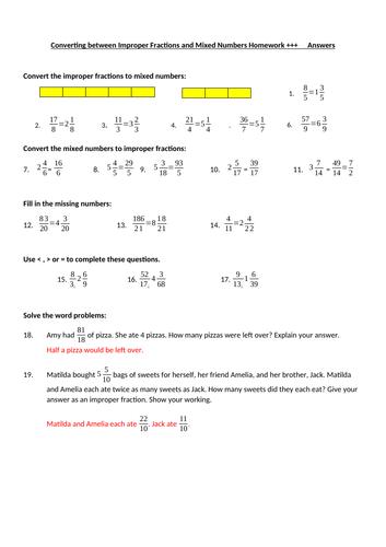 Improper Fractions & Mixed Numbers Homework