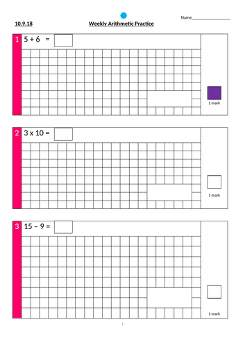 Year 3 Arithmetic Practice Papers *editable*