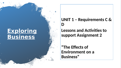 BTEC National Extended Certificate in Business - Assignment One Requirement C & D