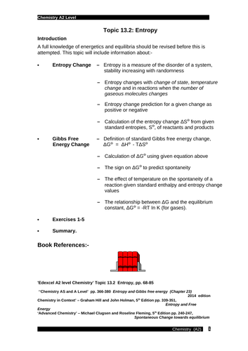 Edexcel chemistry Topic 13.2: Entropy