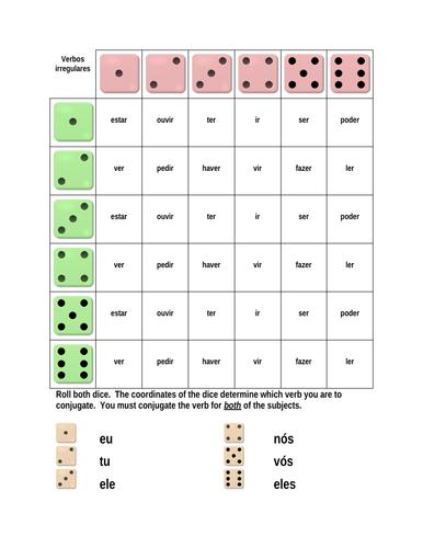 Verbos irregulares (Portuguese Irregular Verbs) Dice Game