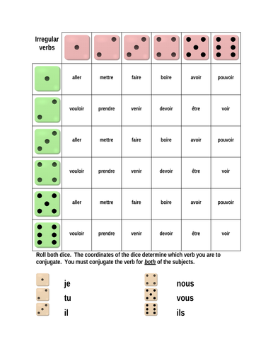 Verbes Irreguliers French Irregular Verbs Dice Game Teaching Resources