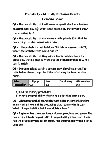 Probability (Mutually Exclusive) Using Variation Theory by