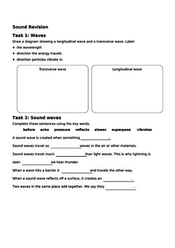 Ks3 Sound revision worksheet/mat