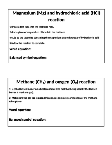 KS3 Chemical reactions practical circus activity