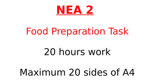 Introduction to AQA NEA2 Food Preparation and Nutrition 2019