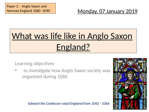 Edexcel Life in Anglo Saxon England