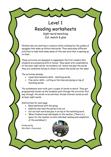 Reading Worksheets-Level 1 -cut & match