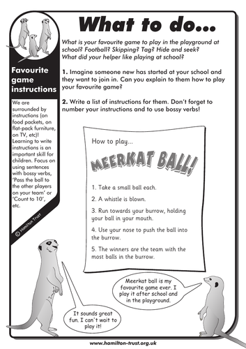 Favourite game instructions - English Homework - KS1