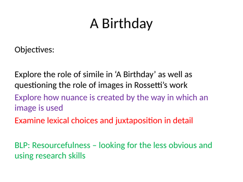 Rossetti Poetry - EDEXCEL A Level resources