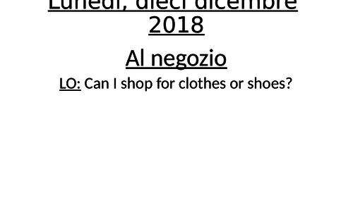 Shopping for clothes KS4 Italian